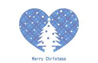 クリスマスツリーシルエットイラストハートチェック模様背景透明