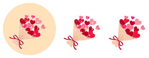 ハートの花束 赤系