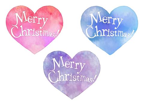 Merry Christmas!の文字が入った手書きメッセージハートのフリー素材