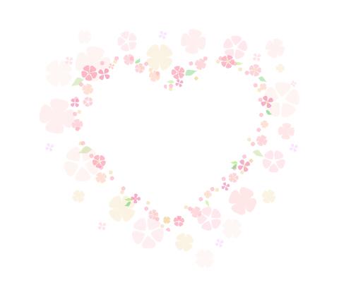 お花のハートフレーム 薄ピンクの透過フリー素材