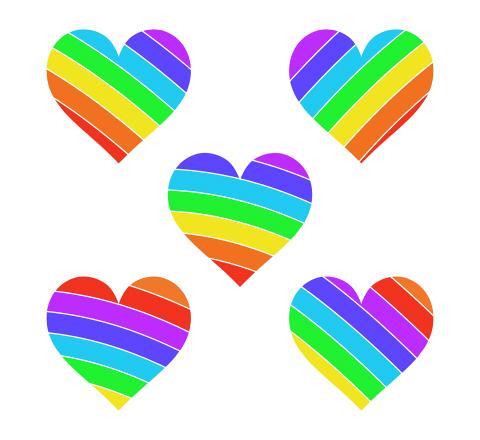 フリーの虹色ハートマーク素材 赤とオレンジ、黄色、緑、水色、青、紫の七色レインボー