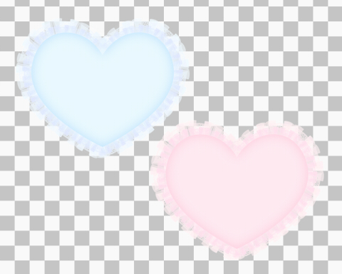 サンプルフリルハート素材ブルーとピンク