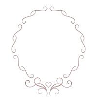 細い蔓とハートの装飾円形フレーム