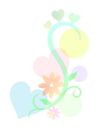 ちらばるハートと蔓と花
