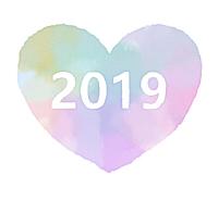 2019ハート素材水彩風薄水色