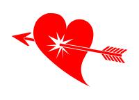 矢に撃ち抜かれた赤いハートイラスト