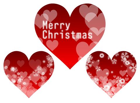 赤いメリークリスマス素材 真っ赤なハートマークに、Merry Christmasの文字や白いハート、結晶模様が入ったイラスト