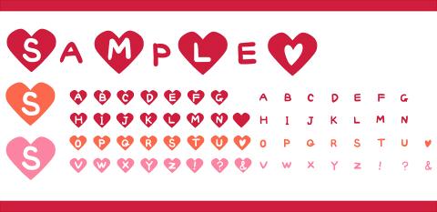 手描きアルファベットのハート素材 赤・ピンク・オレンジ
