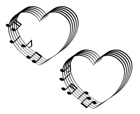 音符と5線のイラスト素材ハートマーク 白背景に黒単色
