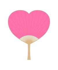 ハート型のうちわイラストピンク