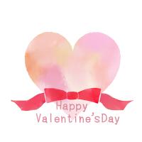水彩風バレンタイン素材リボンと大きめハート