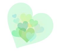 サムネイル透けて重なる淡いグリーンのハート