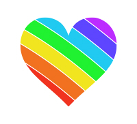 左上虹色のハートマーク 斜めにレインボー柄が入っている クッキリとした七色