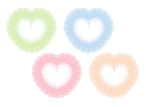 二重枠の装飾ハートフレーム 黄緑とブルー、ピンク、オレンジの4色