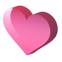 透明感のある立体的ピンクハート