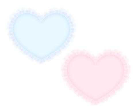 フリルハート素材ブルーとピンク