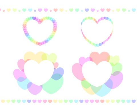 カラフルなハートのミニフレームとライン 淡い色のピンクや黄色、黄緑、水色などのハートを重ねたフリー素材