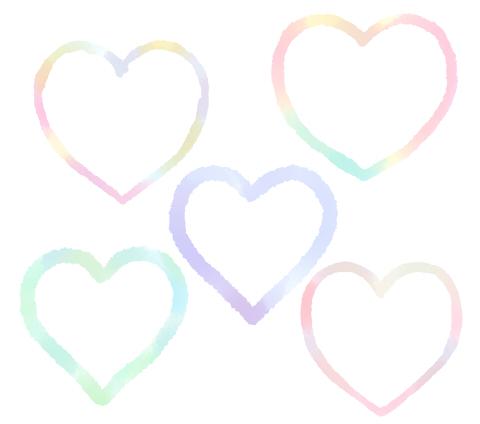 手描きの線ハートイラスト水彩風 ピンクやブルー、グリーンなどの混色カラー