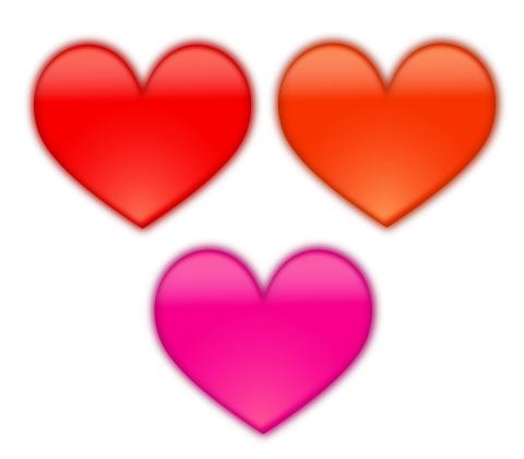 やや立体感のあるぼやけたハートマーク 赤とオレンジ、ピンク