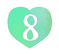 手描き数字8緑色のハート