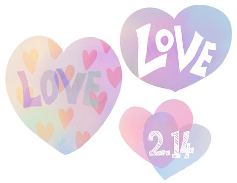 LOVEと214の文字が入った水彩風手描きハート素材