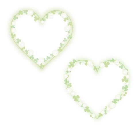 フリーイラスト素材 花のハートフレームシロツメクサ