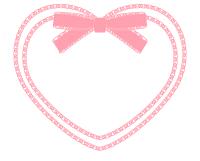 リボン付きハートフレームピンクの枠だけファイル