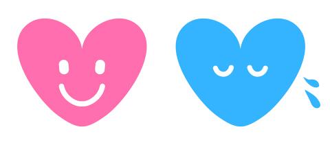 ニッコリ笑顔マークと、しょんぼり顔+汗マークのついたピンクと青のハート