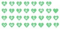 サムネイル手描きのアルファベットハート素材緑