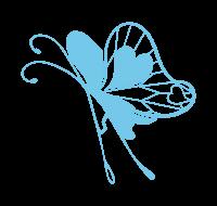 透過ブルーの蝶イラスト素材