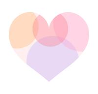 半透明丸模様のピンクハート