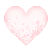 淡いピンクの桜が透けるハートイラスト素材左