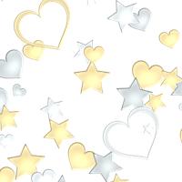 金銀星ハートがランダムに散らばっている背景素材