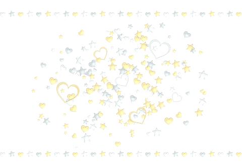 金銀星ハートが散らばるイラスト素材ポストカード比率
