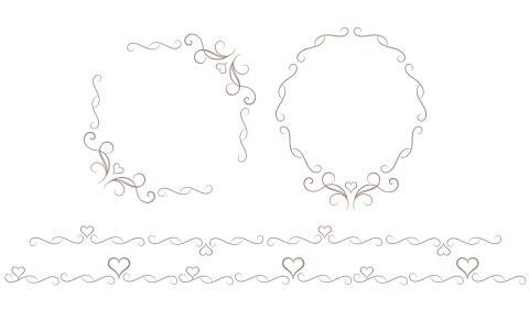 ブラウンカラーの細め蔓模様とハートモチーフの装飾素材 四角フレームと楕円形フレームとライン素材二種