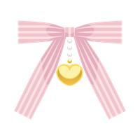 ピンク縞リボンハートチャームイラスト素材
