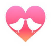 小鳥のつがいシルエットハートマークピンク