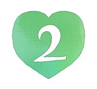 手描き数字2緑色のハート