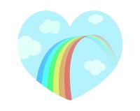 虹のイラストが入ったハート素材01
