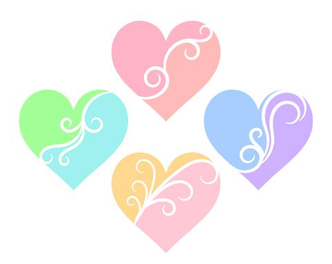 蔓模様で二色カラーに分かれたハートマーク ピンクや黄緑、水色など明るい色