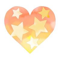 水彩星模様ハートオレンジ