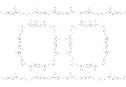 細い線と小さいハートフレームピンクと水色