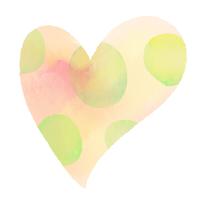 水彩ハートいびつな水玉模様オレンジと黄緑