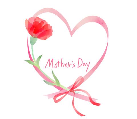 カーネーションイラスト母の日mothersdayの手書き文字入り