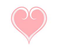 白い縁取りの入ったピンクハート