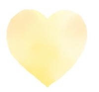 薄い黄色の大きな水彩ハート 丸みをおびた形