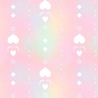 シームレスパターン素材 もやもやとしたピンク背景に白抜きハートライン