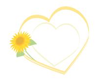 ひまわりフレーム素材ハート型黄色