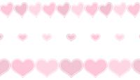 淡いピンクハートのライン素材3種