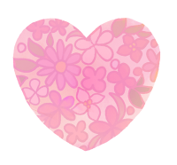 透過花模様のピンクハート 水彩風